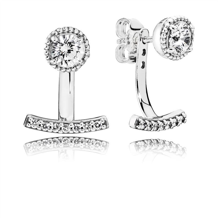 Pandora Abstract Elegance Drop Earrings, Clear CZ 290743CZ