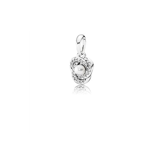 Pandora Luminous Love Knot Pendant, White Crystal Pearl & Clear CZ 390401WCP