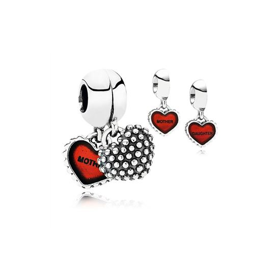 Pandora Piece Of My Heart, Daughter, Two-Part Dangle Charm, Red Enamel 790950EN27