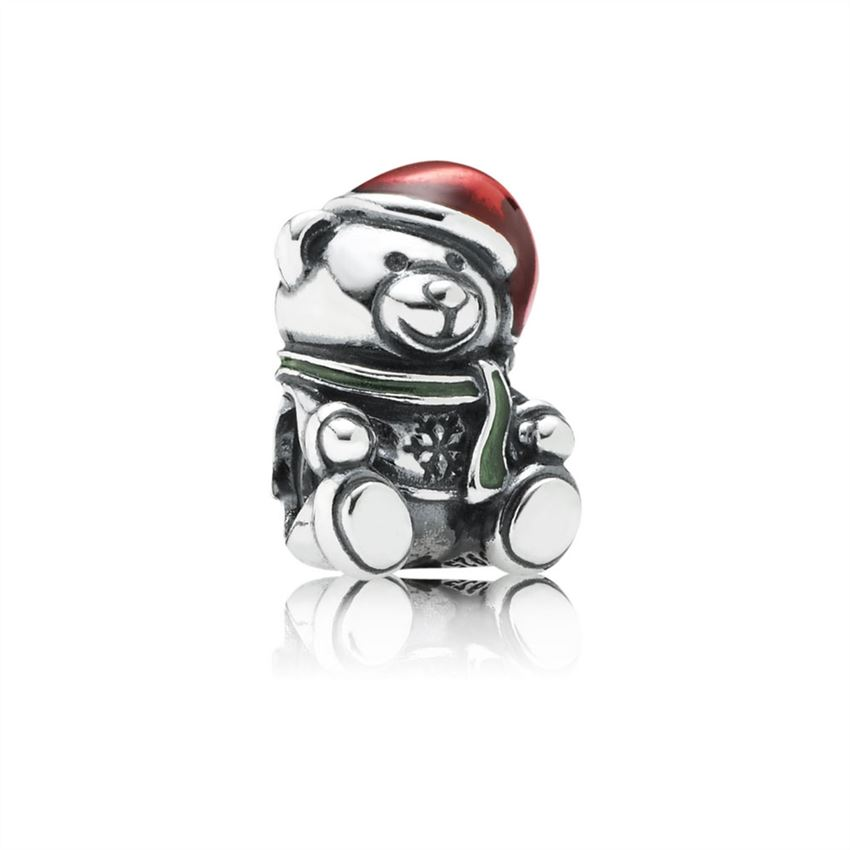 Pandora Christmas Bear Charm, Red & Green Enamel 791391ENMX