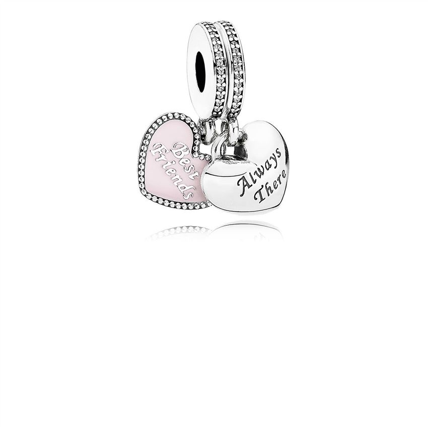 Pandora Best Friends Dangle Charm, Soft Pink Enamel & Clear CZ 791950CZ