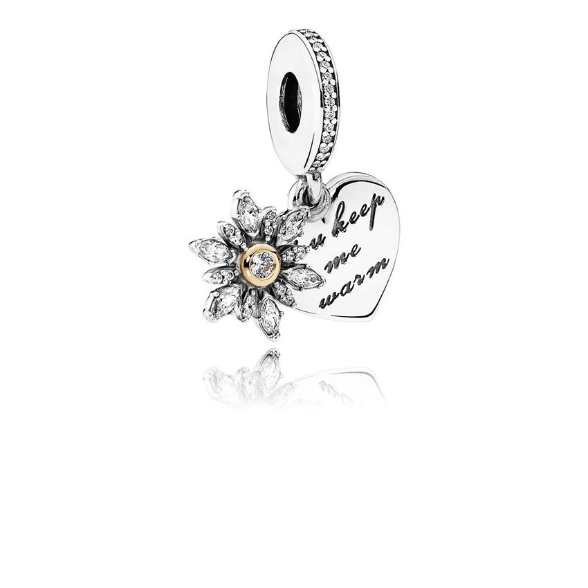 Pandora Snowflake Heart Dangle Charm, Clear CZ 792012CZ