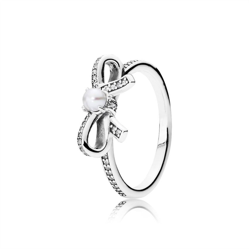 Pandora Delicate Sentiments Ring, White Pearl & Clear CZ 190971P