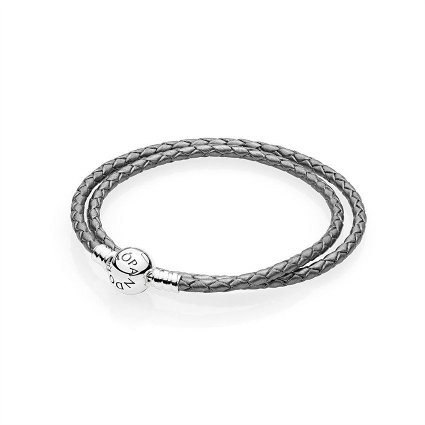 Pandora Silver Grey Braided Double-Leather Charm Bracelet 590745CSG-D