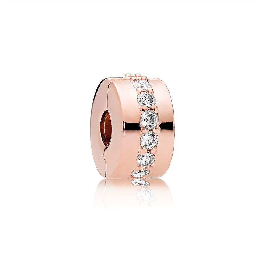 Pandora Shining Path Clip, PANDORA Rose & Clear CZ 781972CZ