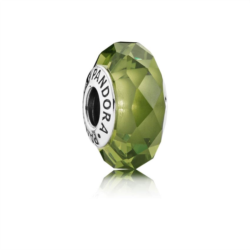 Pandora Abstract silver charm with faceted light green crystal 791729NLG