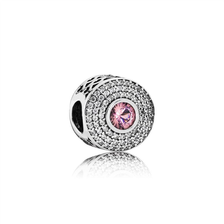 Pandora Abstract silver charm with blush pink crystal and clear cubic zirconia 791763NBP